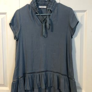 RO & DE Blue BOHO ruffle SS womens Small Blouse